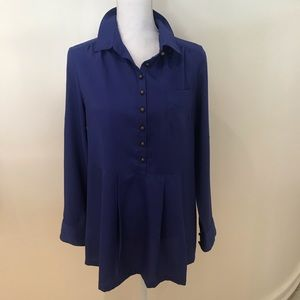Soft surroundings French blue blouse with peplum